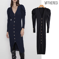Withered 2019 winter dress women vestidos england vintage single breasted navy knitting vestidos de fiesta de noche maxi dress