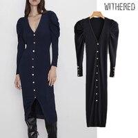 Withered 2019 winter dress women vestidos england vintage single breasted navy knitting vestidos de fiesta de noche maxi dress