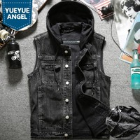 Autumn New Mens Washed Denim Vest Jacket Hoody Single Breasted Cowboy Jeans Waistcoat Slim Fit Tank Plus Size Biker Outerwear