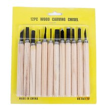 12 Pcs/Set Woodworking Diy Tools Hand Wood Carving Chisels Blade Tool Work Basic Detailed  Woodcut    Working Clay Wax 6 pcs set hand carving tools chisel woodcut chip part costume for art knife seal cutting wood working tool free shipping
