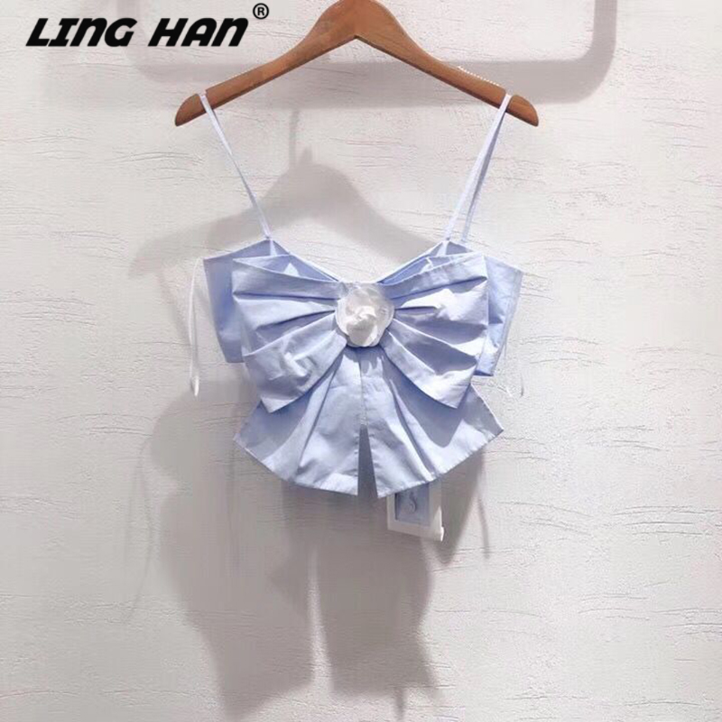 LINGHAN Fashion Bow Cotton Top Women's Sexy Camis 3D Applique Short Tops Designer Spring Summer New