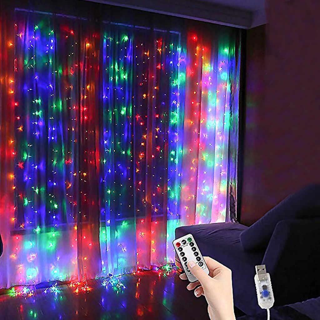 LED Curtain Stripe string Lights, 300LED 8 Modes Remote Control Fairy String Lights Garland 0utdoor Home Wedding Decoration J50