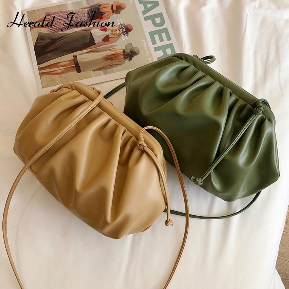 Fashion Brand Cloud-wrapped Soft PU Leather Small Bag Shoulder Slant Dumpling Bag Handbag Day Clutches Messenger Crossbody Bag