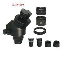 3.5X 7X 45X 90X Electronic industrial phone repair binocular stereo microscope head for SMT PCB phone repair