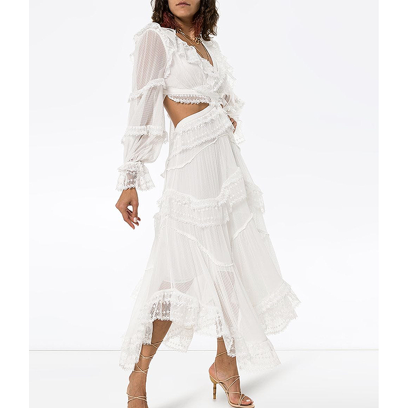 ZCWXM Summer Runway Designer Dress Women 2020 Vacation Bohemian Sexy Backless White Hollow Out Lace Patchwork Long Dress New