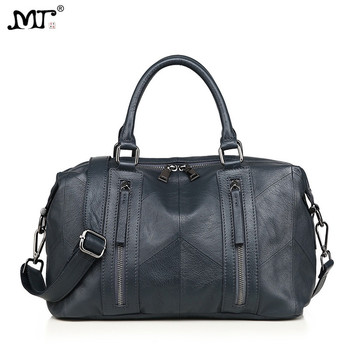 MJ Women Tote Handbag Genuine Leather Female Soft Real Cow Leather Shoulder Bags Solid Large Capacity Ladies Crossbody Bag