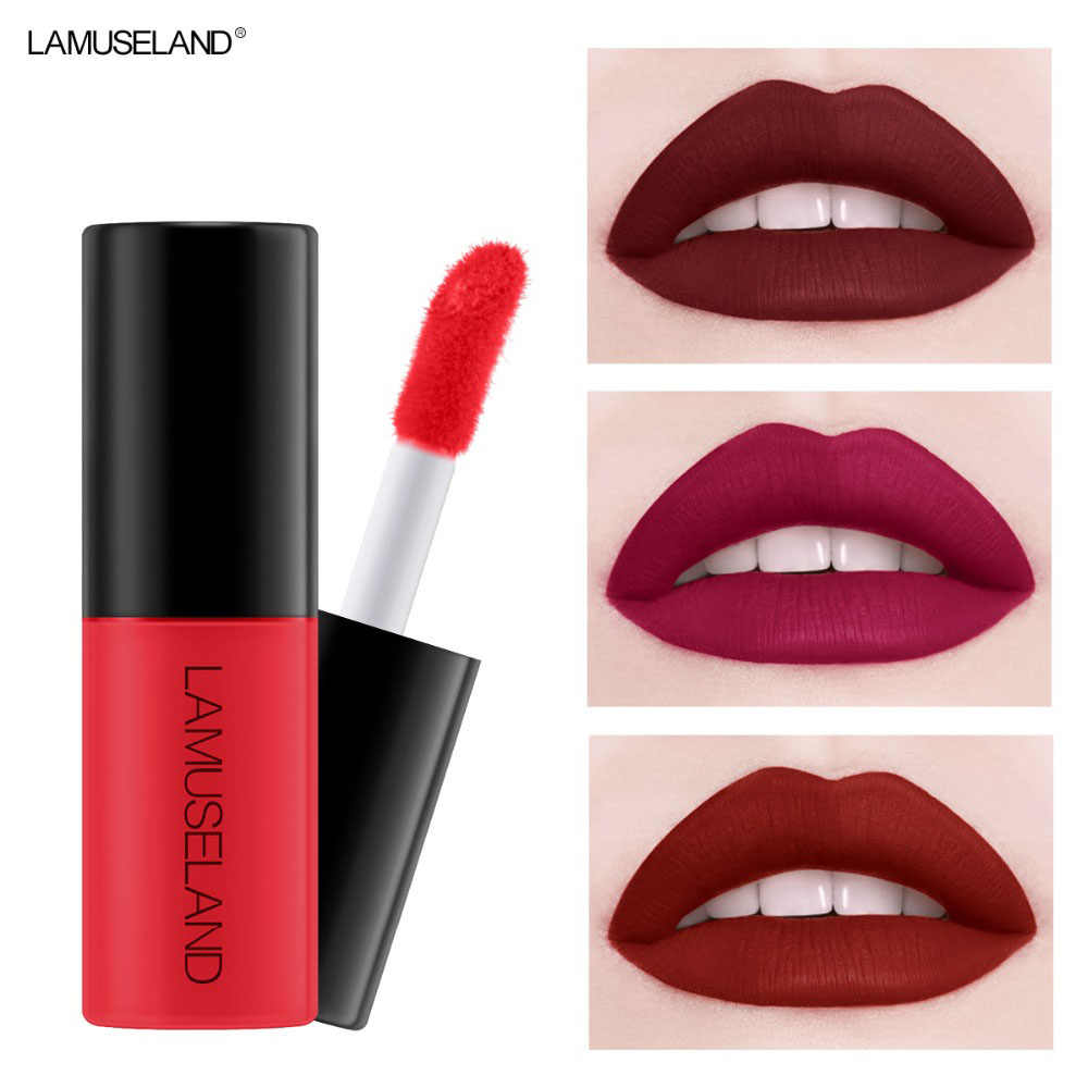 12 Colors 1PC Waterproof Long-Lasting Matte Liquid Lipstick Easy To Carry 1Nude Lip Gloss Velvet Red Lip Tint Makeup  3.5g