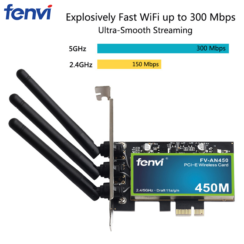 Dual Band 450Mbps Desktop PCI-E Wireless Wi-Fi Adapter Network Card 802.11a/b/g/n With Intel Chips With 2.4/5GHz For PC Computer
