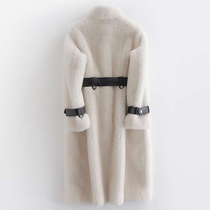 Women's Real Fur Coat Sheep Shearing Overcoat Female Winter Warm 100% Wool Jacket With Stand Collar Long Parka LX2504
