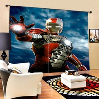 Red Armor Iron Man Window Curtain Polyester Thermal Insulated Black out Curtain Living Room Decor Draperies Comic Hero 2 Panels