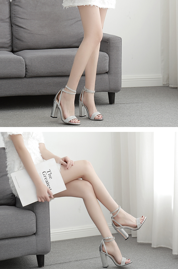 Silver Bling Crystal Sexy Women Sandals