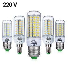 E27 lámpara LED E14 bombilla LED SMD5730 220V bombilla de maíz 24 36 48 56 69 72 lámpara colgante de LED vela LED luz para decoración del hogar