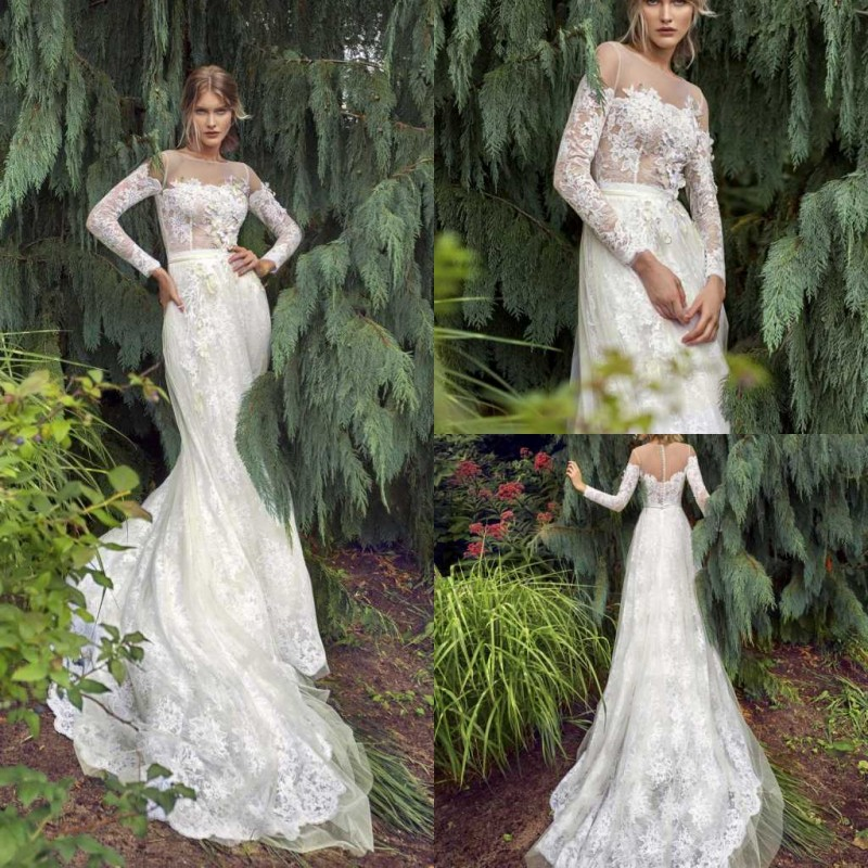 2020 Wedding Dresses Long Sleeves Lace Appliques Mermaid Bridal Gowns Button Back Sweep Train Boho Wedding Dress