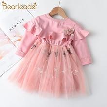 Children Clothing Dress Winter Party-Costumes Flowers Bear Leader Long-Sleeve Girls Autumn