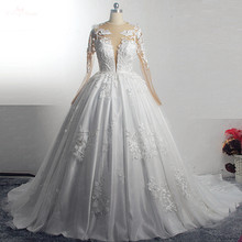 RSW1572 Robe De Mariee Illusion Back Buttones Flower Dress Princess Full Sleeves Wedding Gowns