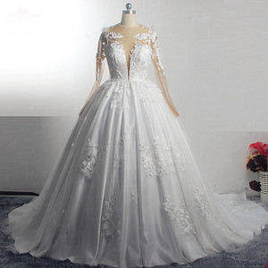Image 1 - RSW1572 Robe De Mariee Illusion Back Buttones Flower Dress Princess Full Sleeves Wedding Gowns