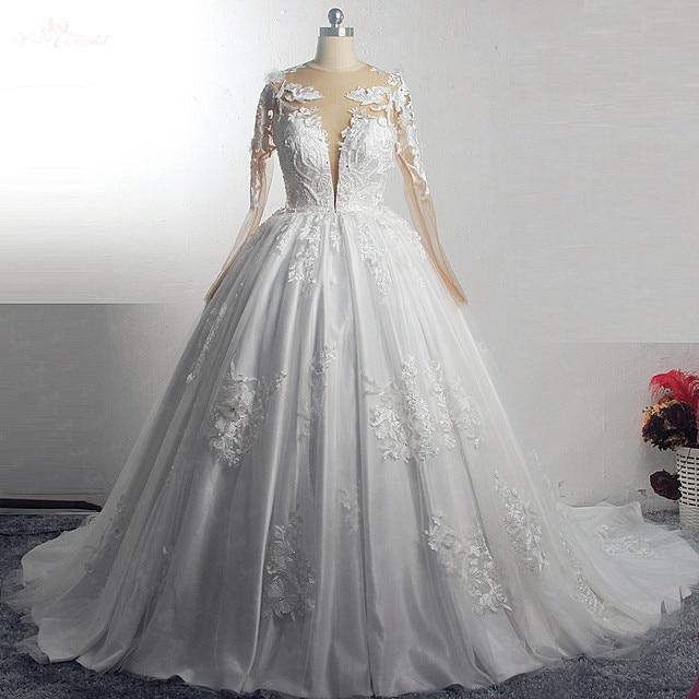 RSW1572 Robe De Mariee Illusion Terug Buttones Bloem Jurk Prinses Volledige Mouwen Bruidsjurken