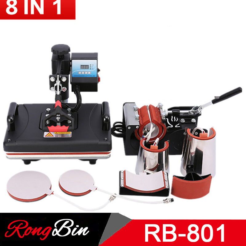 Cheap 8 In 1 Combo Heat Press Machine Sublimation Printer 2D Heat Transfer Machine For Tshirts Mug Plate Cap Phone Case
