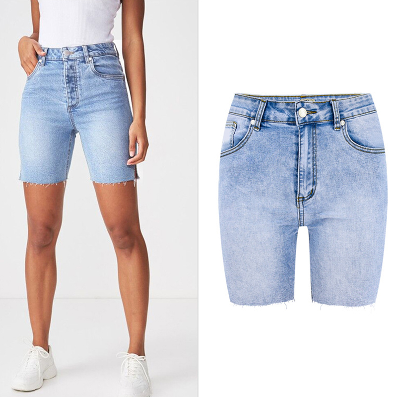 High Quality Summer Women Denim Shorts High Waisted Knee Length Short Jeans Women Casual Cotton Denim Stretch Jeans Shorts 2019