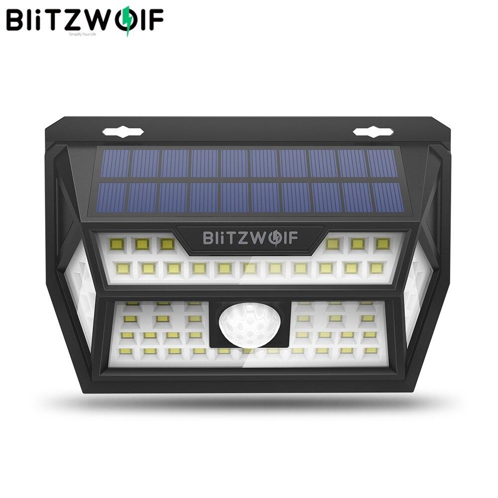 Blitzwolf BW-OLT1 Smart PIR Motion Sensor Control Solar Power 62 LED Wall Light Lamp Waterproof For Outdoor Garden Path Yard