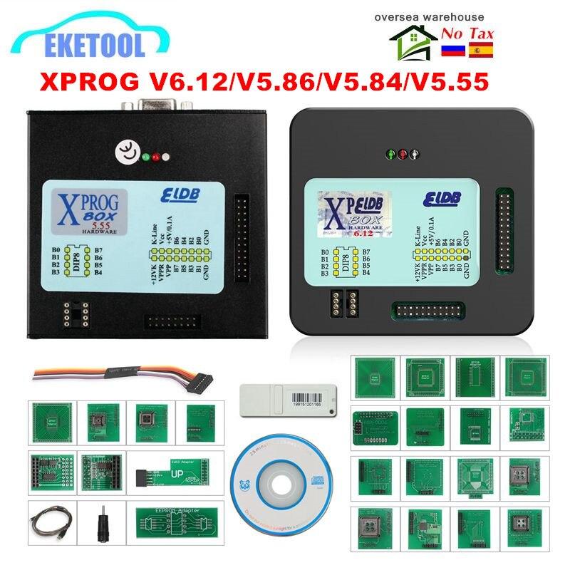 Mais recente v6.12/v5.86/v6.17/5.55 xprog caixa ecu programador adicionar mais autorizado com usb dongle XPROG-M v5.84 firmware v4.4 X-PROG
