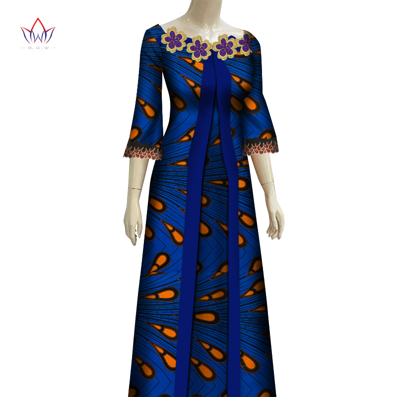 Causal African Women Dress Bazin Riche African Clothing Wedding Party Long Sleeve Africa Print Dress Bridesmaid Dress WY6896