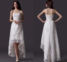 Vestidos де Нойва новый блестками аппликации без бретелек пляж свадебное платье бохо 2020 высокий низкий асимметричный свадебные платья
