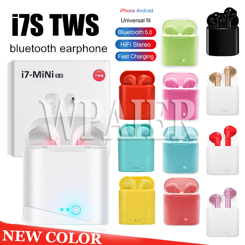 WPAIER I7S TWS Bluetooth Headphones Portable Wireless Earbuds With Charging Box mini bluetooth headsets Universal type earphones image