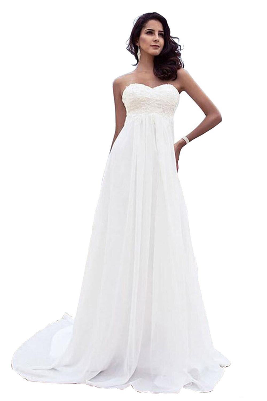Beach Wedding Dresses Plus Size Backless Lace  Chiffion Long  Bride Gowns Vestido De Noiva Cheap Formal Dress