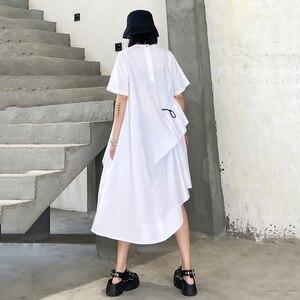 [EAM] Women White Irregular Drawstring Long Dress New Round Neck Short Sleeve Loose Fit Fashion Tide Spring Summer 2020 1U844