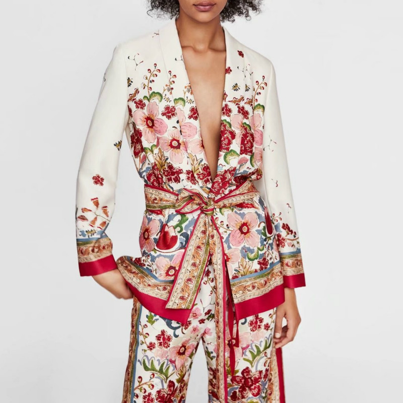 Women's Suit Female 2019 Retro Style Flower Pattern Blazer European-style Casual Holiday Jacket + Pants Suits Pajamas