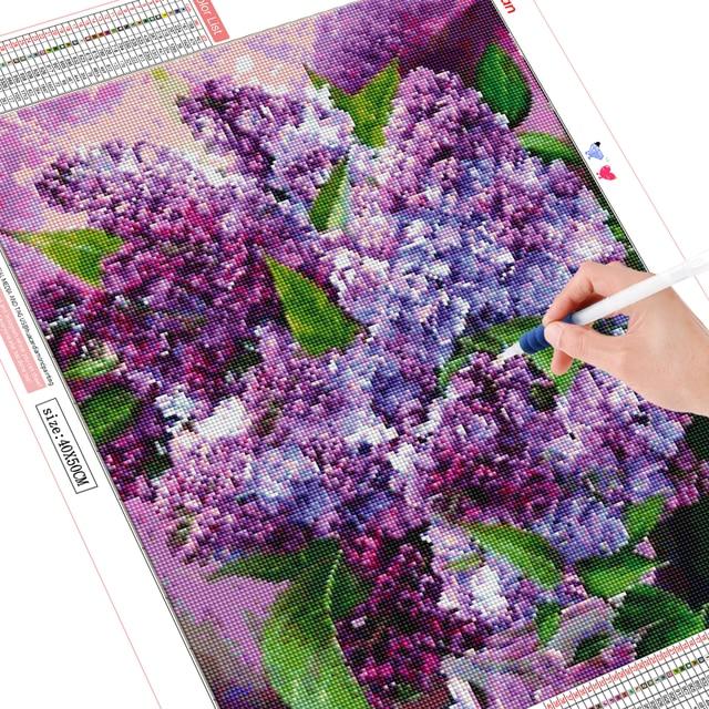 HUACAN DIY Diamond Embroidery Painting Flower With Home Decoration Cross Stitch Purple Lilac Diamond Mosaic