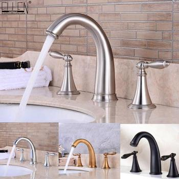 3 Hole Widespread Bathroom Sink Faucet Deck Mounted Dual Handle Hot Cold Water Mixer Tap Brush Nickel Chrome Finished EL8001-2