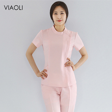 Beauty Salon Suit Overalls Pants-Set Tops Technician Work-Clothing Womens SPA Health