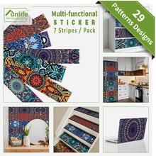 Funlife® 21x100cmx7pcs Vintage Mandela Mosaic grungeMorocco Self adhesive Kitchen Bathroom Tile Sticker Functional Wall Sticker
