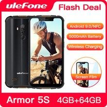 """Ulefone שריון 5S מחוספס Smartphone אנדרואיד 9.0 IP68 NFC 5.85 """"HD + נייד טלפון אנדרואיד 4GB + 64GB 5000mAh 4G טלפון סלולרי"""