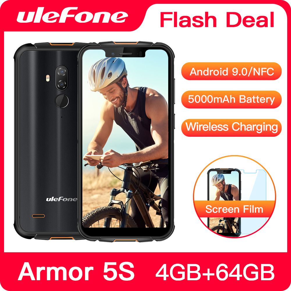 """Ulefone Armor 5S  Rugged Smartphone Android 9.0 IP68 NFC 5.85"""" HD+ Mobile Phone Android 4GB+64GB 5000mAh 4G Cell Phone"""
