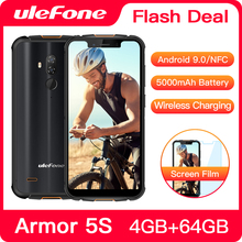 "Ulefone Armor 5S  Rugged Smartphone Android 9.0 IP68 NFC 5.85"" HD+ Mobile Phone Android 4GB+64GB 5000mAh 4G Cell Phone"