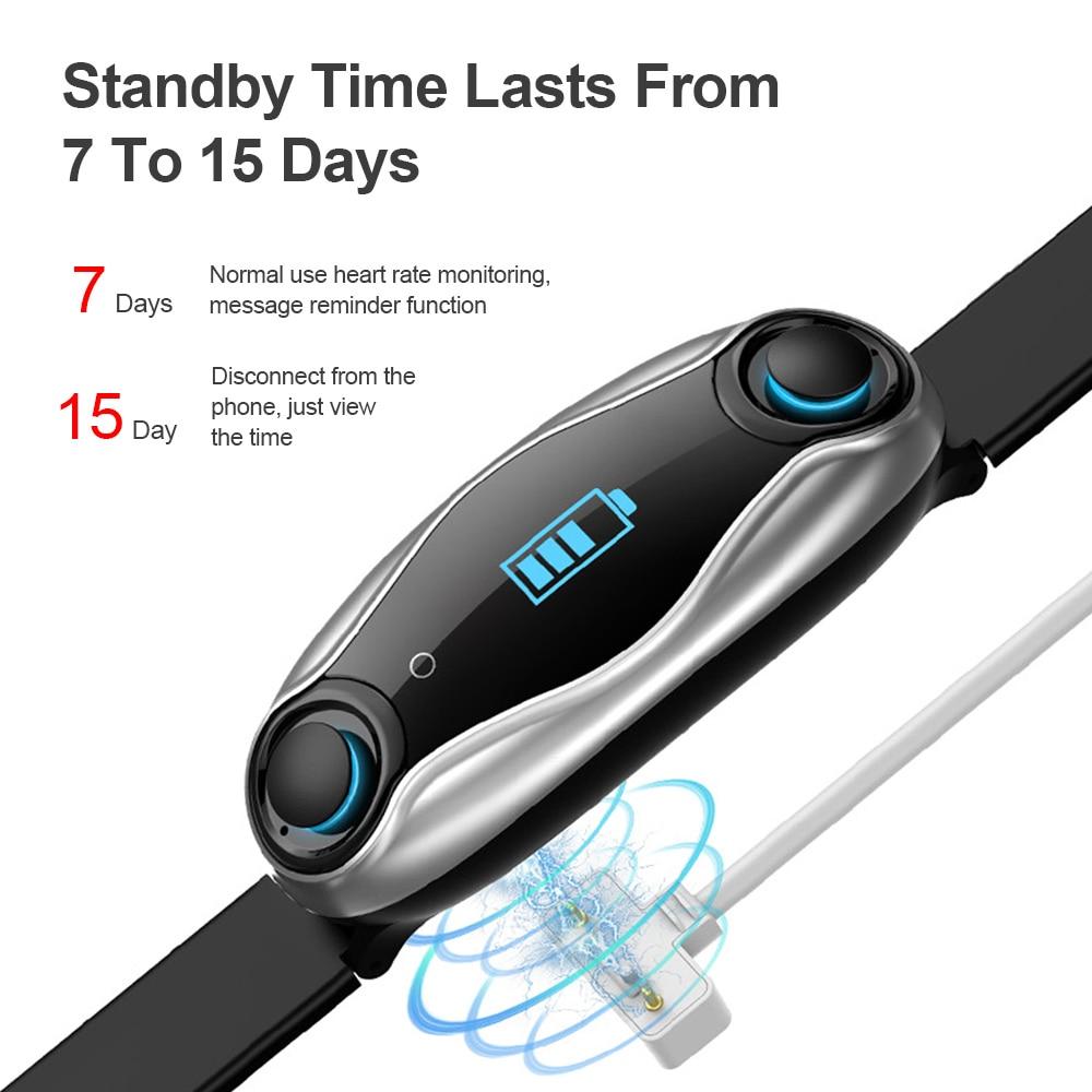 Femperna Wireless Headphones Double Bluetooth Earub Earphones Answer Call Breath Light Fitness Smart Band Wristband Smart Watch - 6