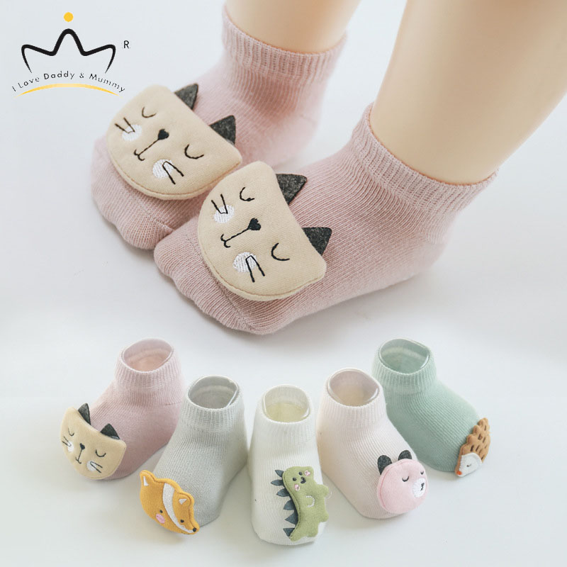 New Cute Cartoon Animal Fox Cat Dinosaur Baby Shoes Soft Cotton Newborn Toddler Baby Socks Anti Slip Baby Boy Girl Floor Socks