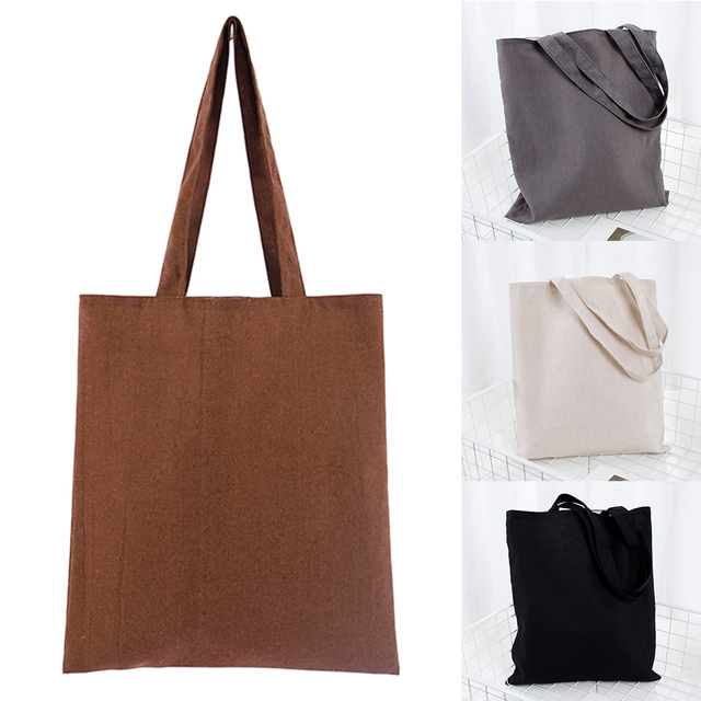 Universal Shopping Bag Large Capacity Cotton Blend Solid Tote Eco Freindly Multipurpose Reusable Natural Storage School #734 4