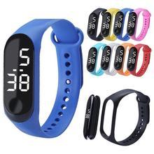 Детские часы светодиодные спортивные детские часы PU электронные цифровые наручные часы браслет Наручные часы для мальчиков и девочек Прямая поставка