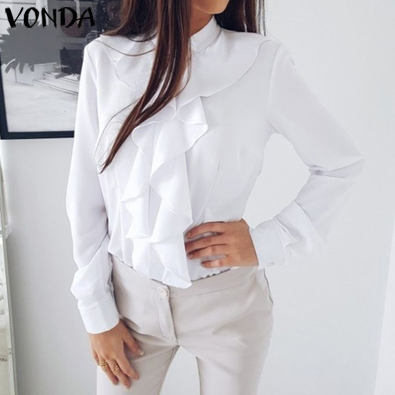 Office Blouse Women Plus Size VONDA 2020 Summer Tunic Female Long Sleeve Ruffle Tops And Blouse Casual Blusa Ladies Shirts S-5XL