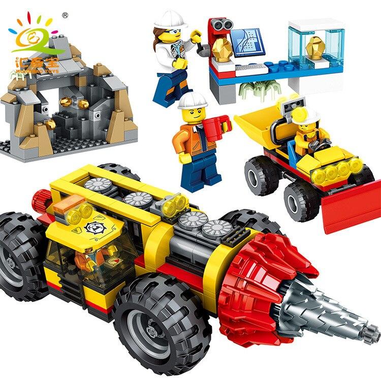 Série d'ingénierie urbaine perceuse minière robuste 6960 enfants machines créatives insérées blocs de construction Wechat Busi