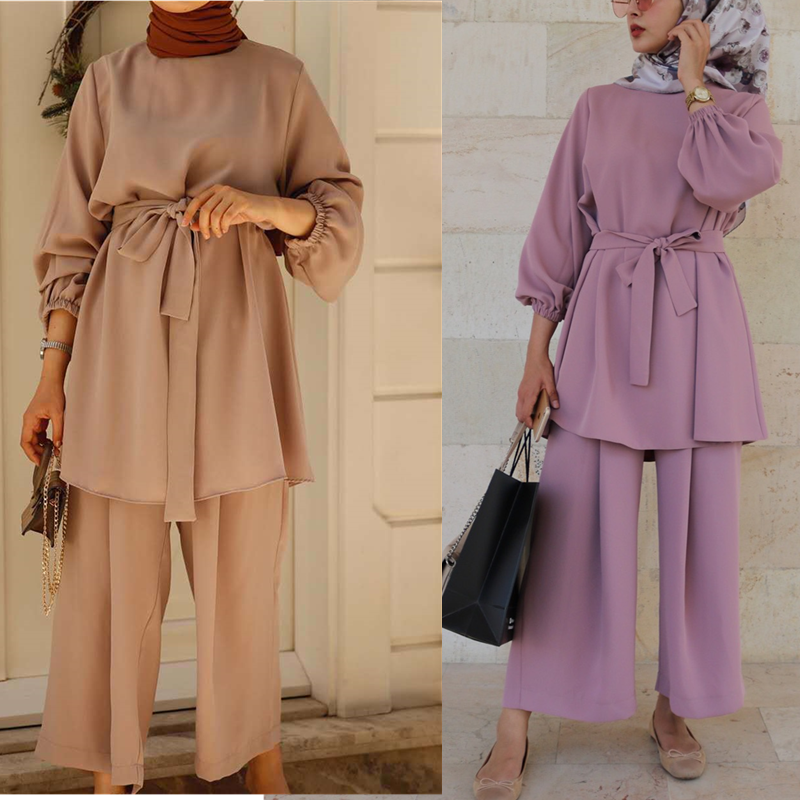 Eid Mubarek Abaya Turkey Hijab Two piece Muslim Sets Dress Caftan Kaftans Islamic Clothing Abayas For Women Musulman Ensembles