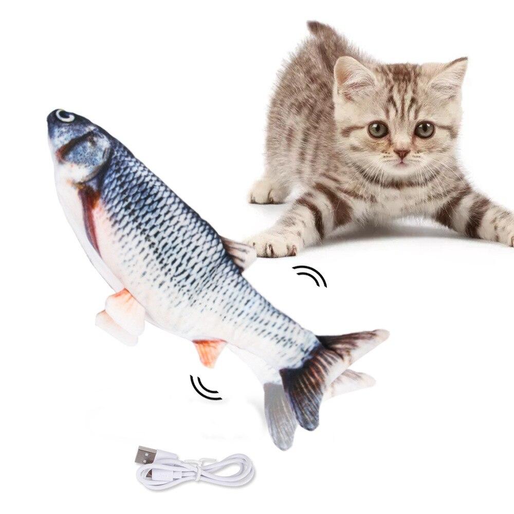 30 см электрическая игрушка для домашних животных, USB зарядное устройство для рыбы, интерактивные реалистичные игрушки для жевания котов, ко...