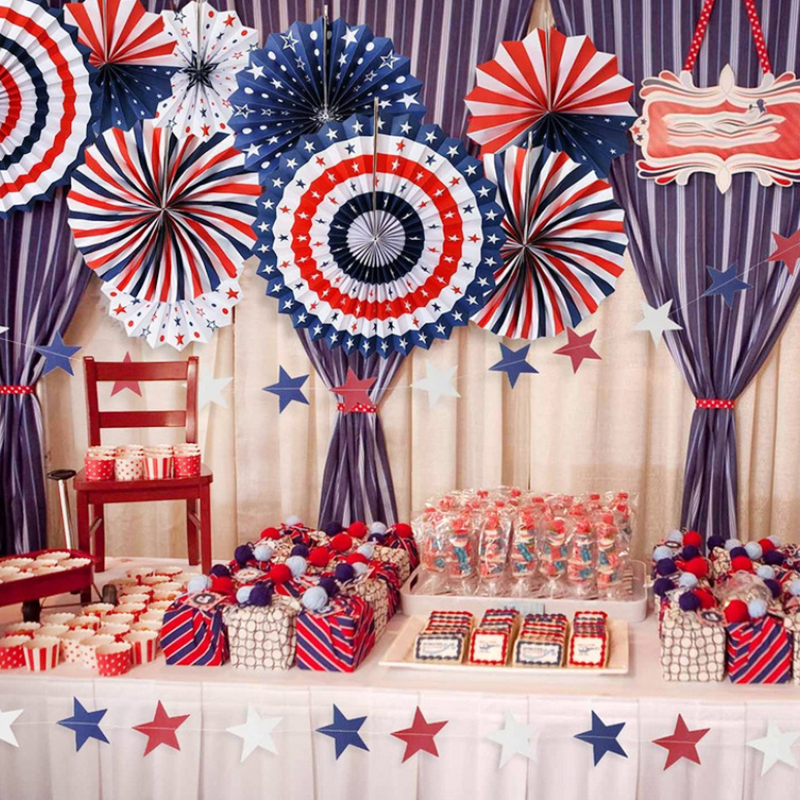 American Independence Day String Flags Banner Paper Fan Party <font><b>Decoration</b></font> <font><b>4</b></font> <font><b>July</b></font> Diy <font><b>Decoration</b></font> Wall Deco Colorful Paperboard image