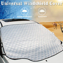 Araç ön camı kar örtüsü, araba şemsiyeleri manyetik kenarlı kar, pamuk kalın cam kış kapağı çoğu araba için Fit