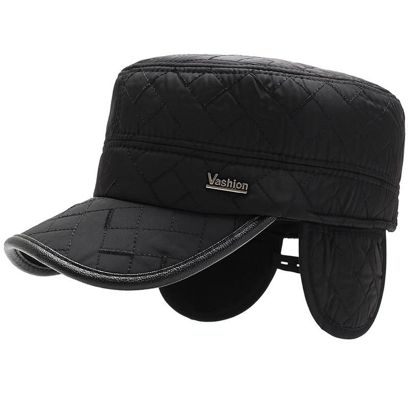 [NORTHWOOD] High Quality Men's Baseball Cap With Ear Flaps Winter Hat Flat Top Snapback Hats Bone Trucker Caps