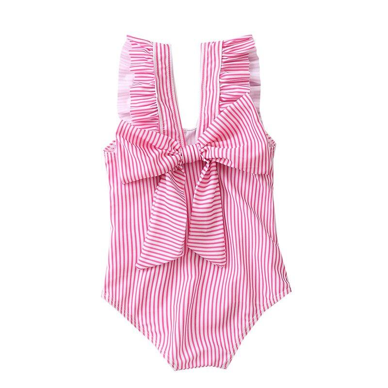 2019 KID'S Swimwear Baby Girls Small CHILDREN'S Large Bow Stripes Siamese Swimsuit Girls Princess Swimwear